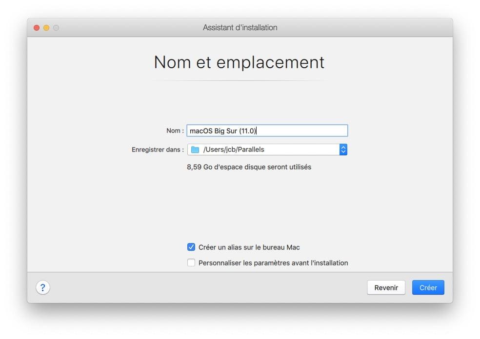 nom et emplacement macos big sur parallels desktop 16