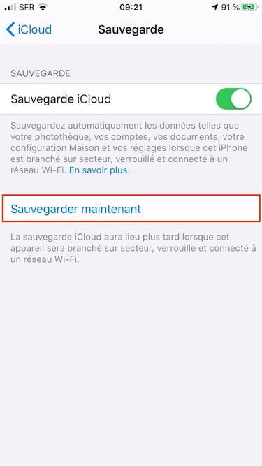 sauvegarder maintenant iphone avec adaptateur secteur