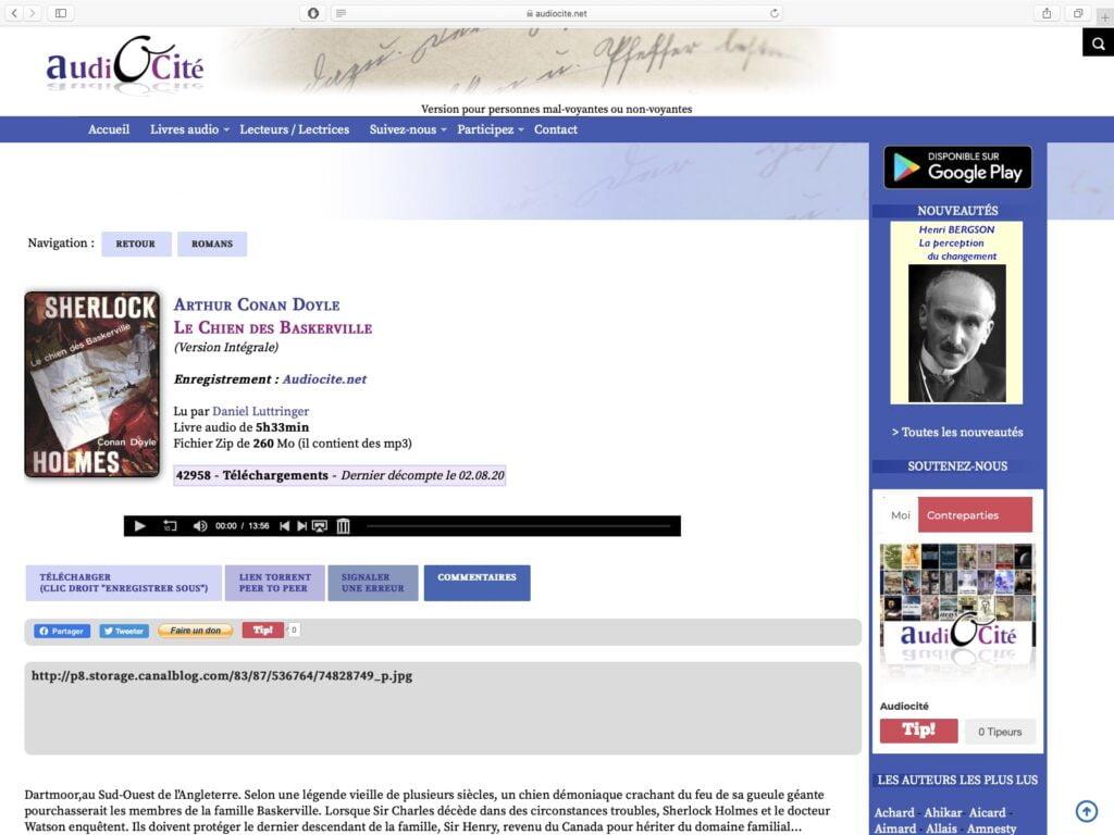 telecharger des livres audio gratuits sur iphone avec Audiocite