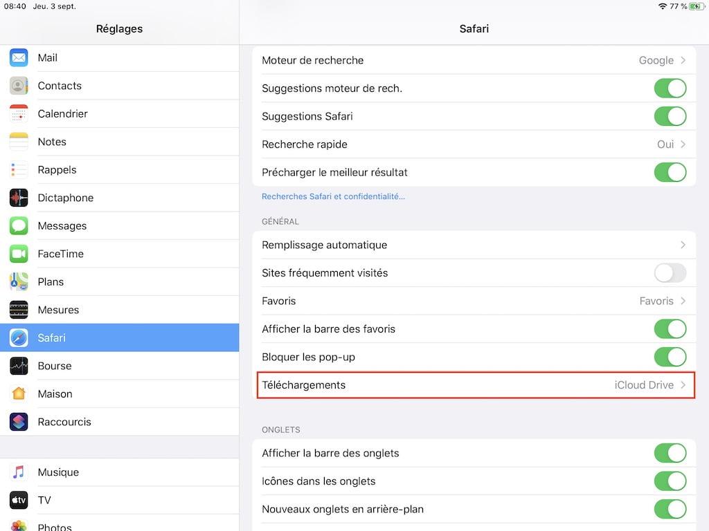 changer emplacement telechargements de fichiers sur Safari iOS