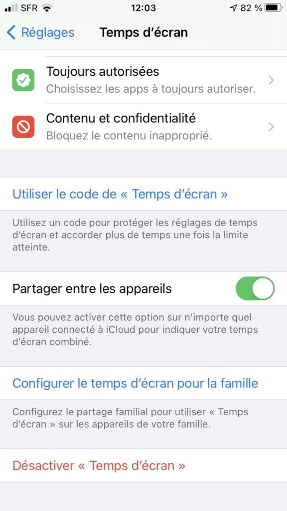 desactiver temps decran iphone ios 14