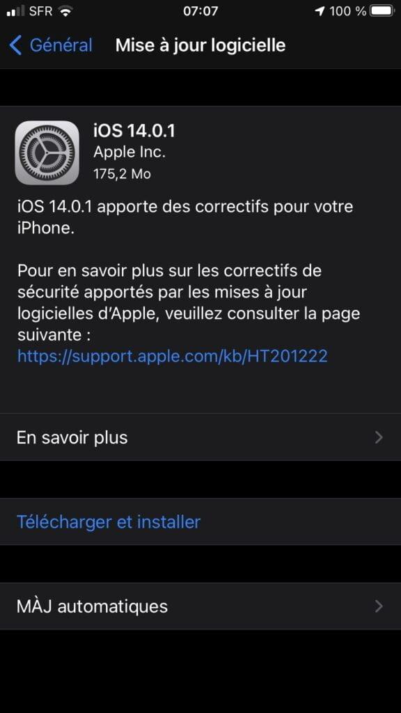 iOS 14 lent installer mise à jour recentes