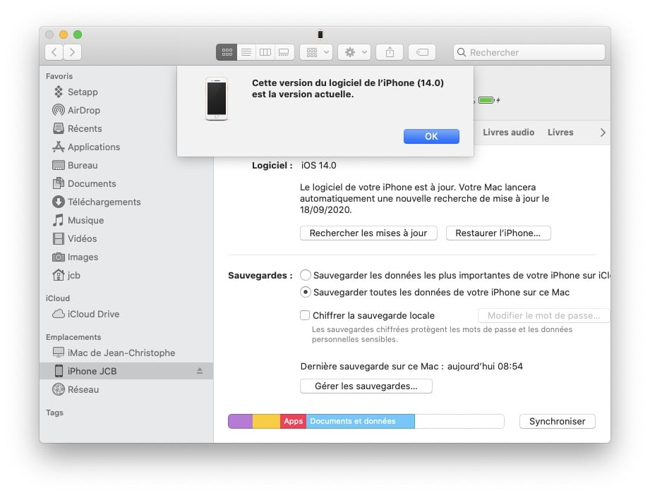 iOS 14 mise a jour sur Mac