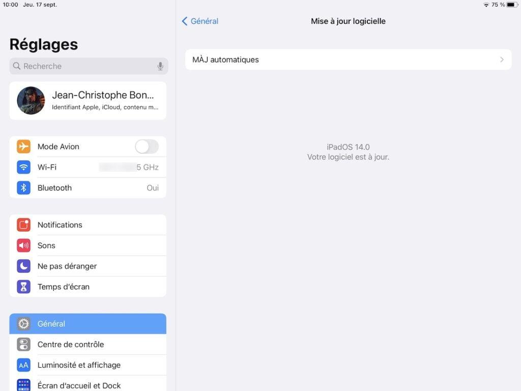 iPadOS 14 mise a jour logicielle