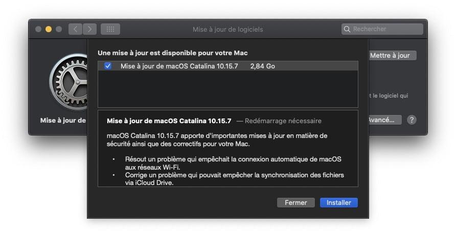 macOS Catalina 10.15.7 liste mise a jour