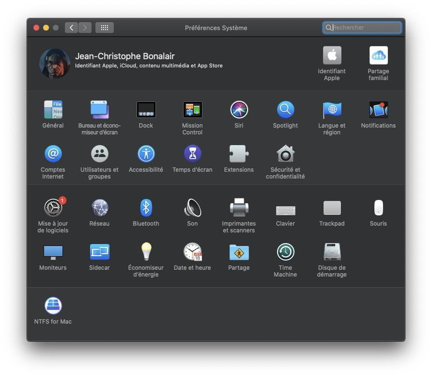 macOS Catalina 10.15.7 mise a jour de logiciels preferences systeme