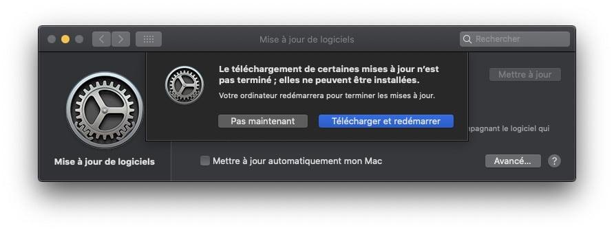 macOS Catalina 10.15.7 telecharger et redemarrer