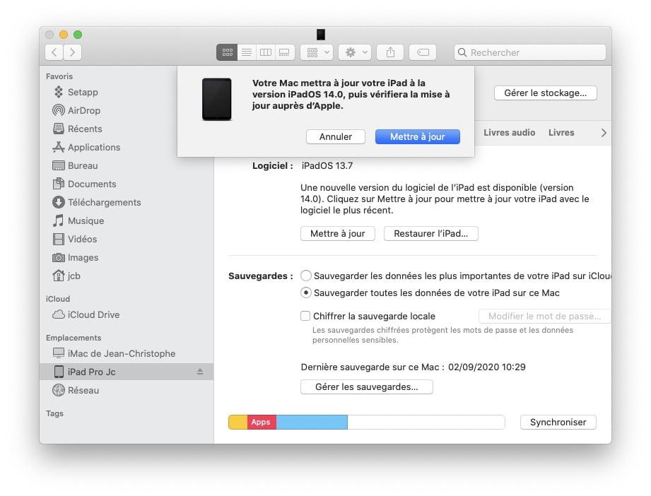 mise a jour ipados 14 avec Finder Mac