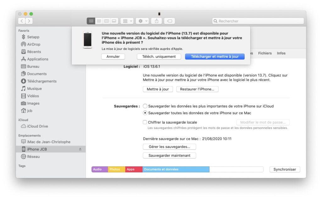 telecharger et mettre a jour iPhone iOS 13.7