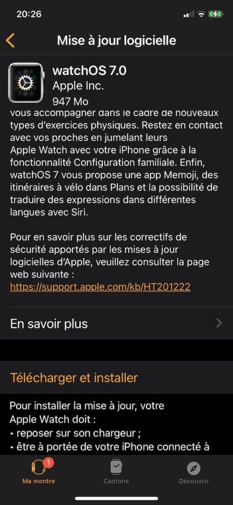 watchos 7.0 update avec iphone ios 14