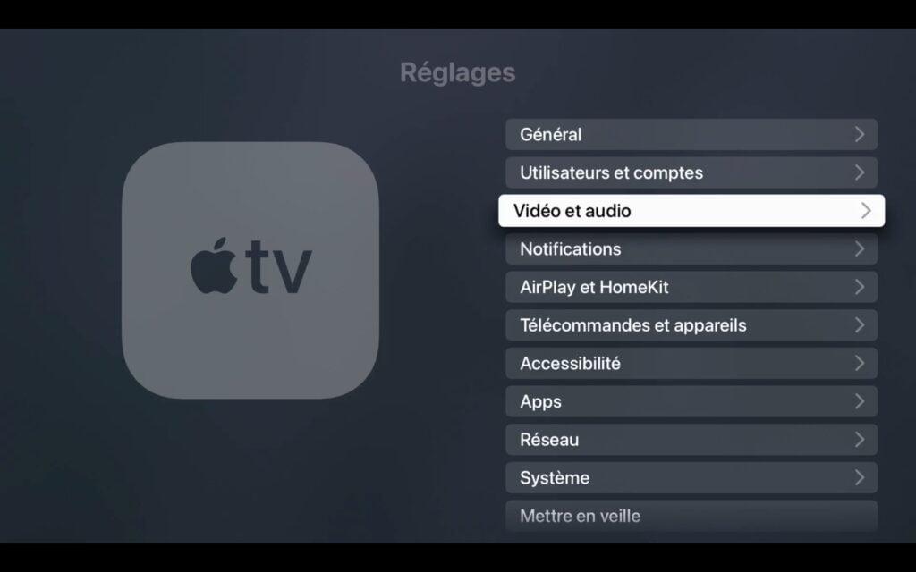 apple tv reglage video et audio parametrer