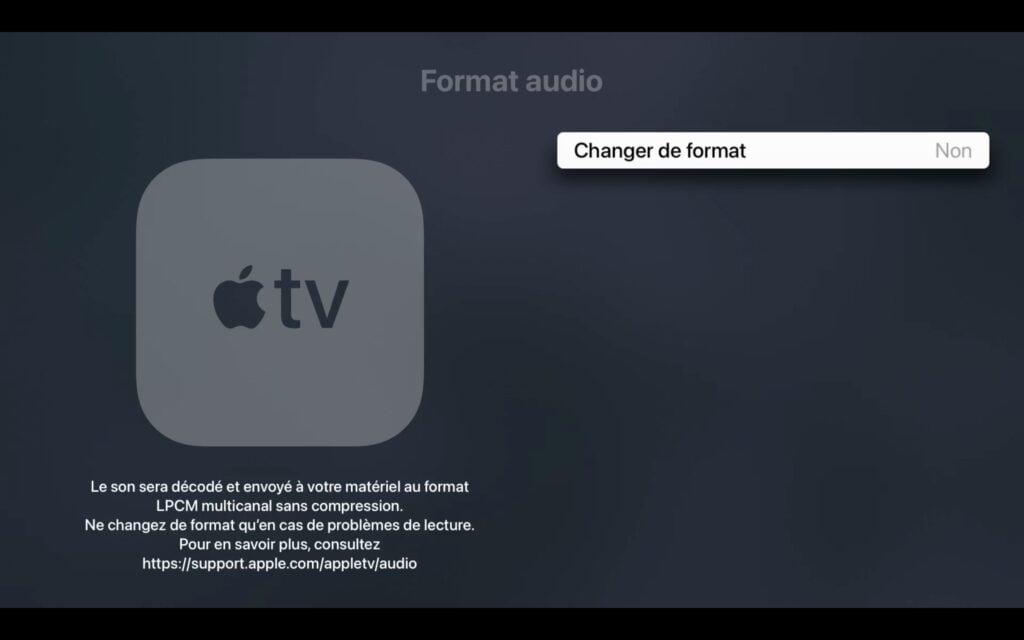 changer format audio apple tv 4k
