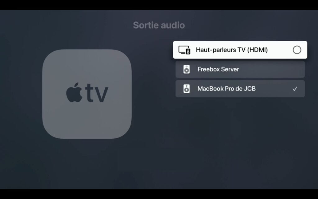 configurer sortie audio HDMI pour apple tv 4k