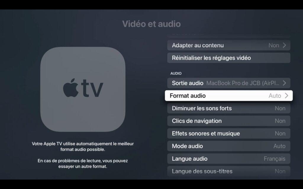 format audio apple tv 4k