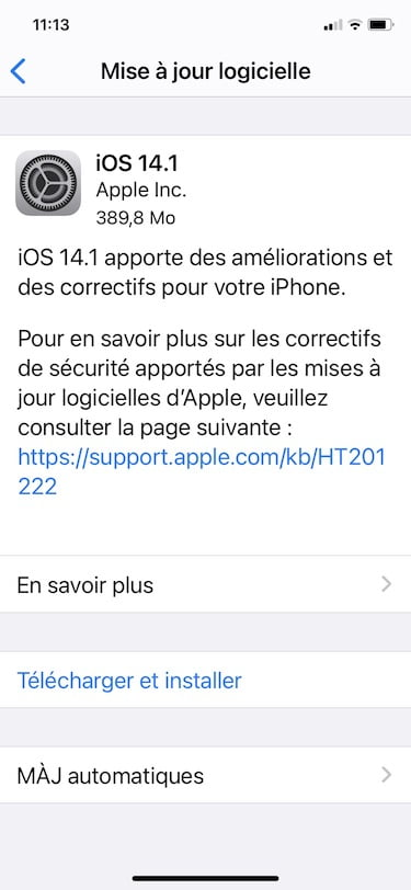 iOS 14.1 telecharger et installer