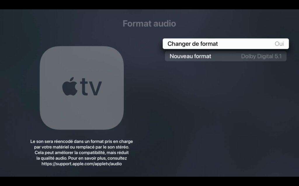mettre apple tv 4k en dolby digital 5.1