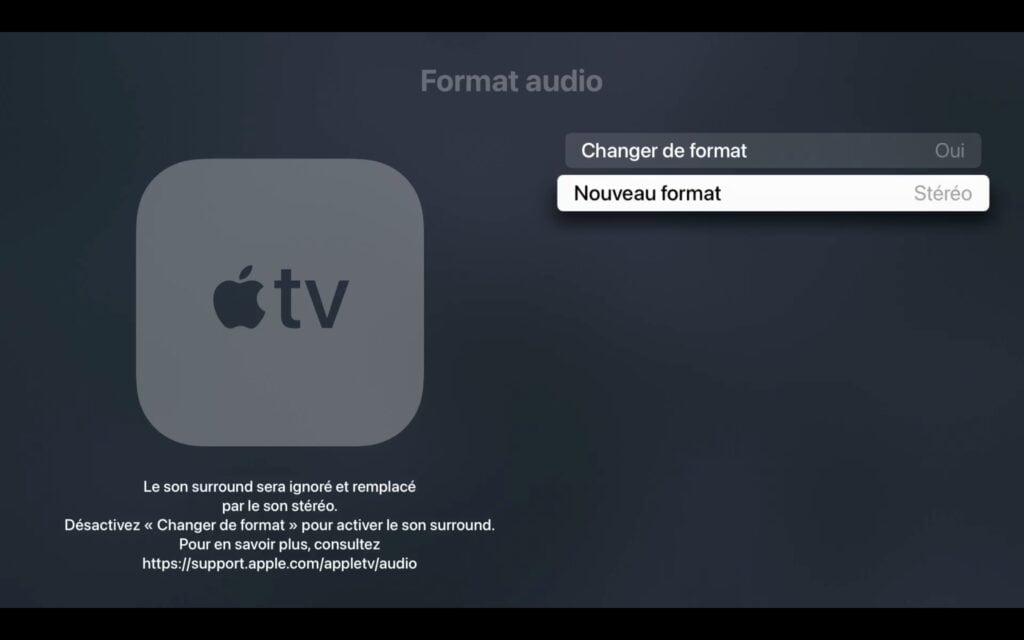 mettre apple tv 4k en stereo