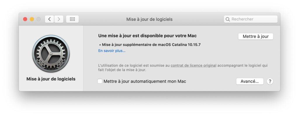Mise à jour supplementaire pour macOS Catalina 10.15.7