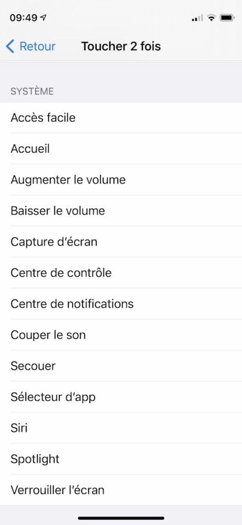 allouer action iphone en touchant le dos de l iPhone