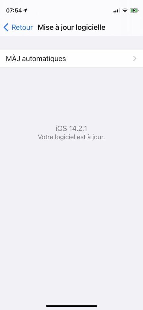 mise a jour iOS 14.2.1 iphone 12 mini