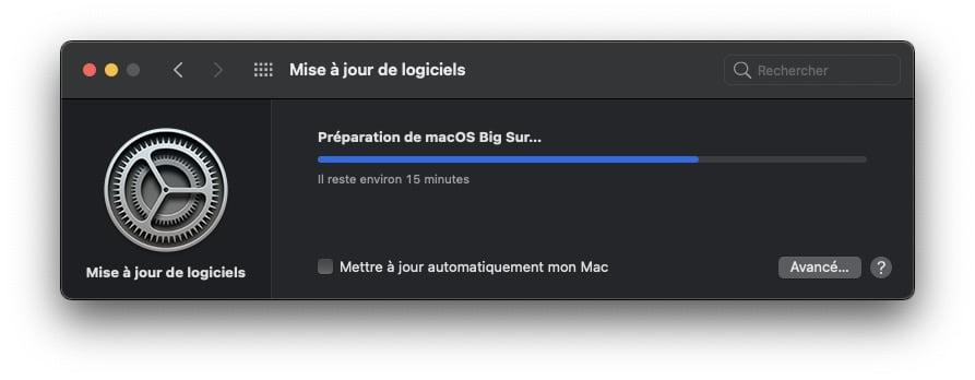 preparation telechargerment macos big sur 11.01