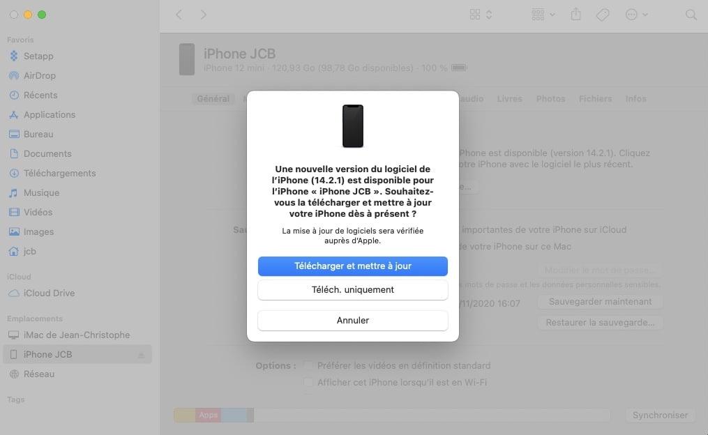 telecharger et mettre a jour iphone 14.2.1