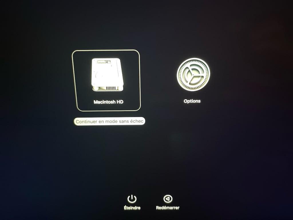 Continuer en mode sans echec apple mac silicon