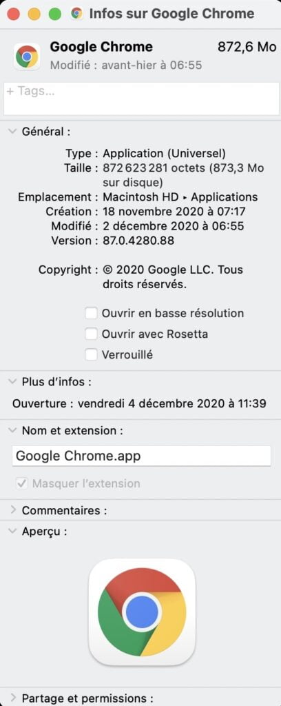 Google Chrome app Universel