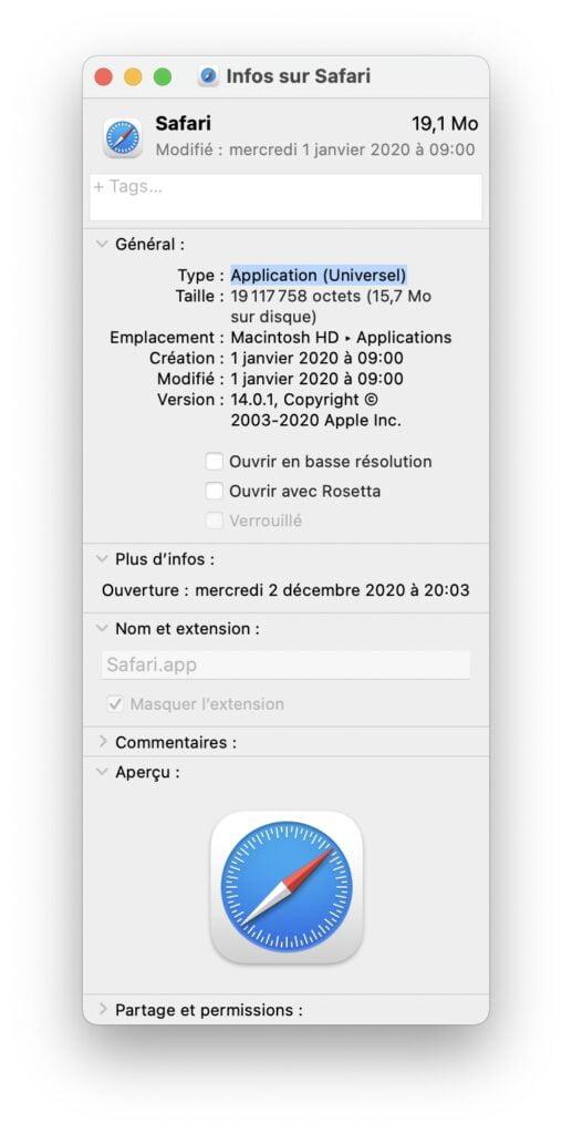Installer Rosetta 2 sur un Mac Apple Silicon application universel