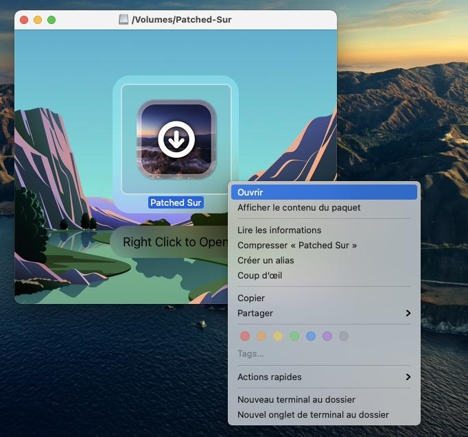 Installer macOS Big Sur sur un Mac non compatible bouton droit Ouvrir
