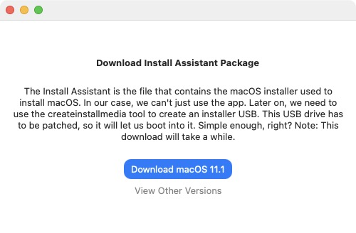 Patched Sur download install assistant package