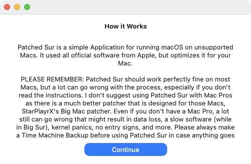 Patched Sur installation mac non compatible
