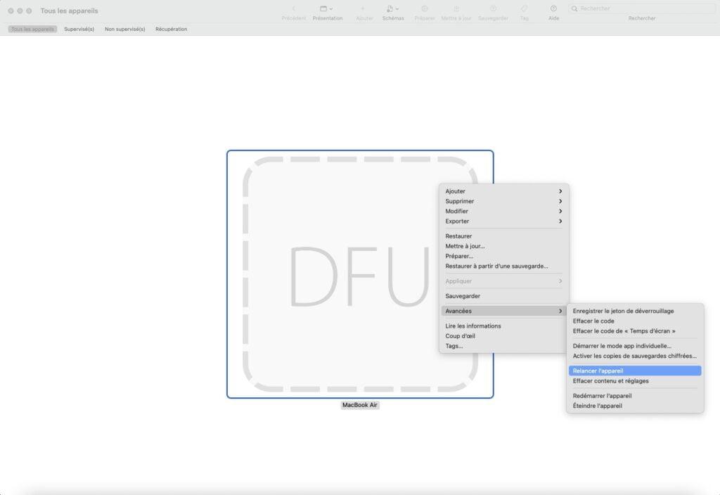 apple configurator 2 Avancees et Relancer appareil avec touche ctrl