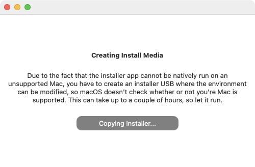 creation cle usb bootable macos big sur pour mac non supportes