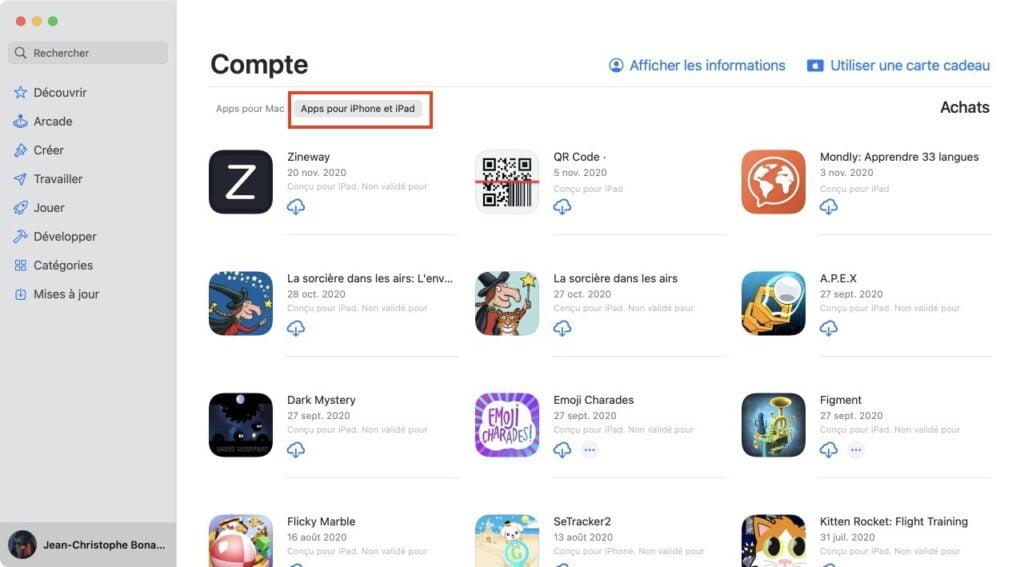 executer apps pour iPhone et iPad sur Mac Silicon
