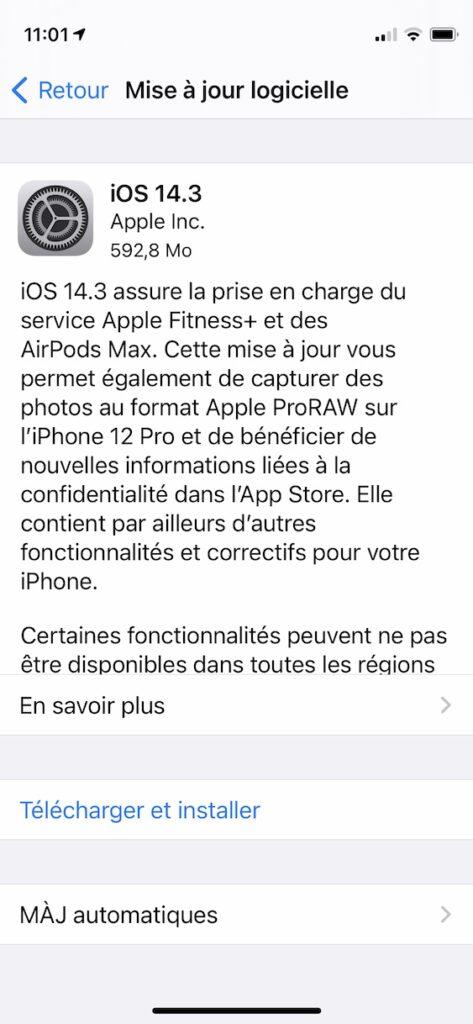 iOS 14.3 iPhone