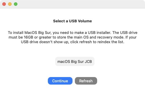 installation macos big sur mac non compatible cle usb 16go minimum