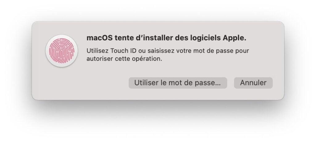 installation rosetta mac apple silicon mot de passe administrateur obligatoire