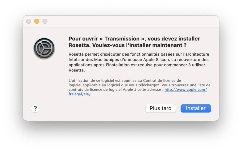 installer rosetta 2 pour application Intel