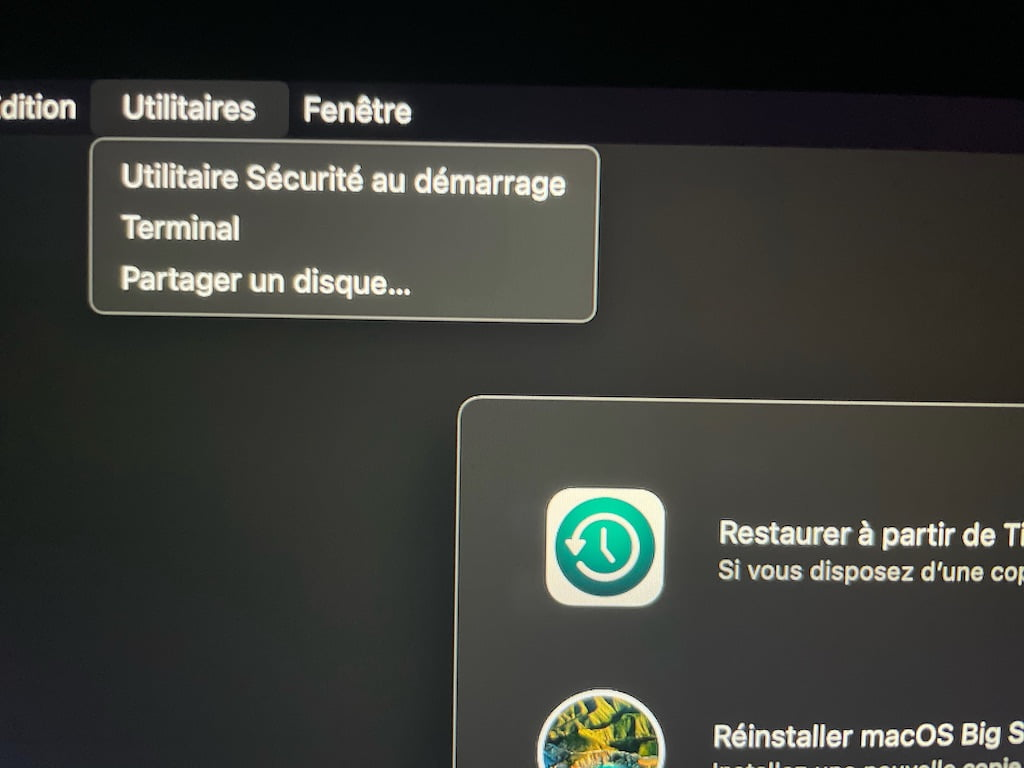 mac apple silicon Utilitaire securite au demarrage Terminal partager un disque
