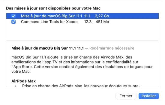 macOS Big Sur 11.1 liste correctifs