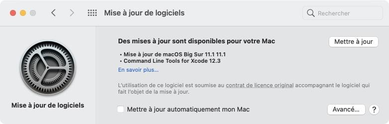 mettre a jour macOS Big Sur 11.1