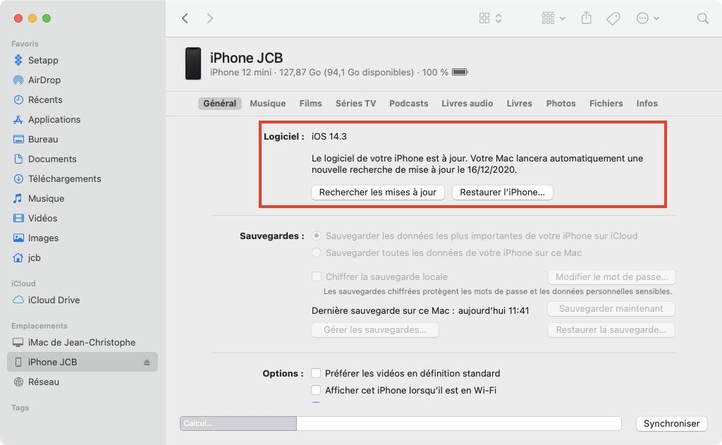 mettre a jour son iphone ios 14.3