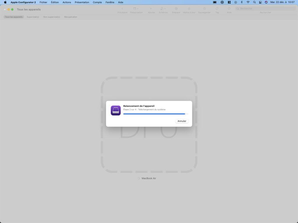 relancement de l appareil apple configurator 2