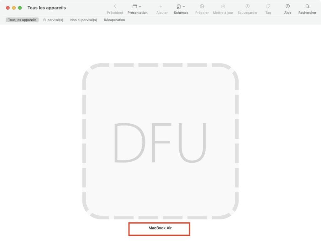 restaurer apple silicon dfu mode