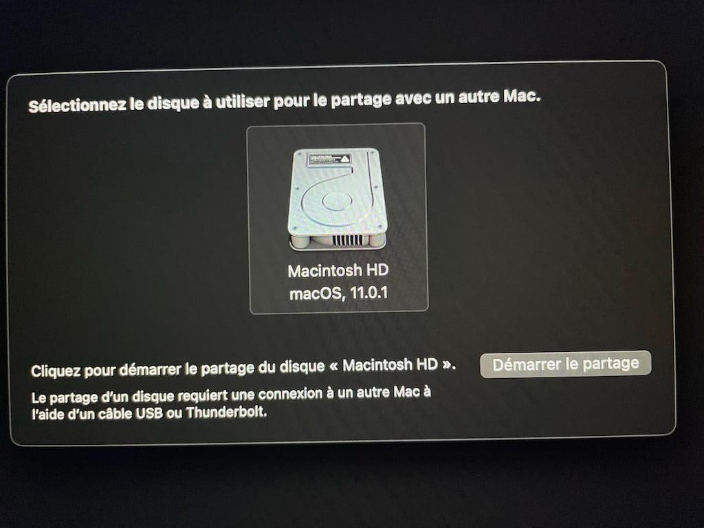 selectionnez le disque a utiliser pour le partage avec un autre Mac