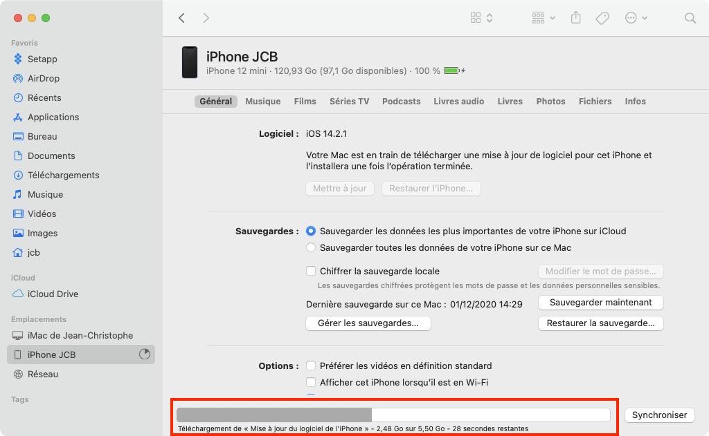 telechargement de mise a jour du logiciel iPhone 14.3 finder Mac