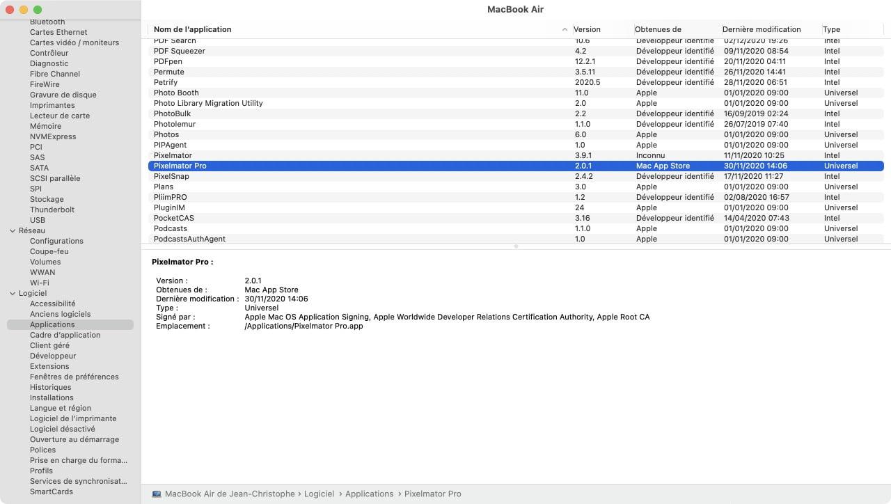 voir app universel et intel 64 dans informations systeme