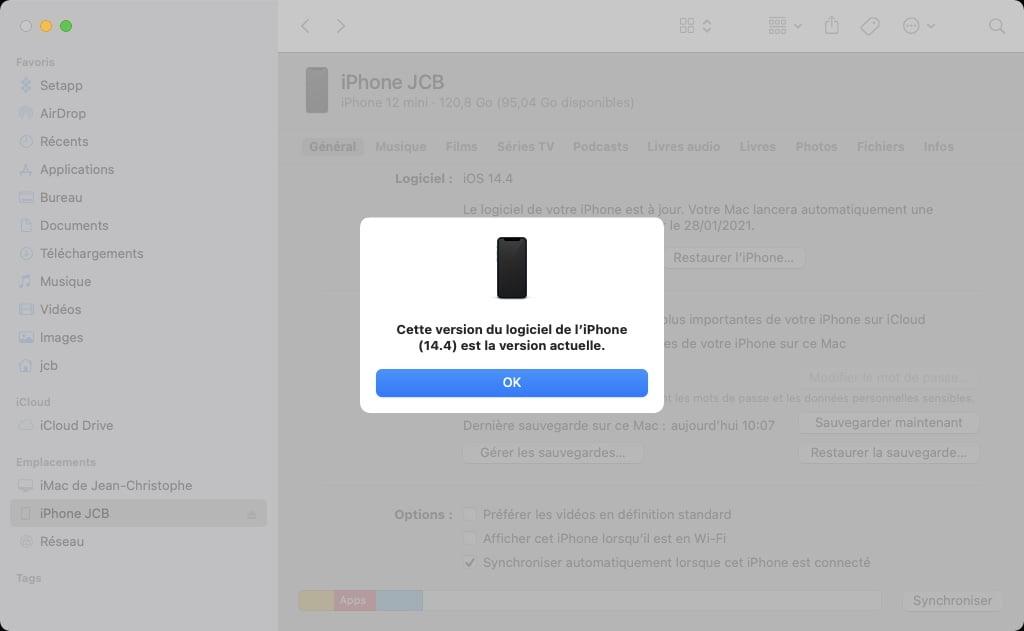 Cette version du logiciel de liPhone 14.4 est la version actuelle