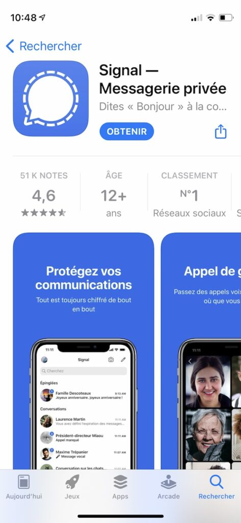 Installer Signal sur iPhone App Store